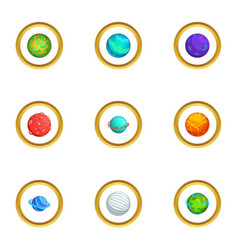 Mystery planet icons set cartoon style vector