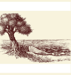 Olive tree and a boat on sea shore wallpaper vector