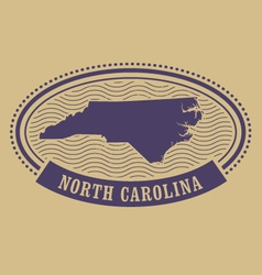 Oval stamp with North Carolina map silhouette vector