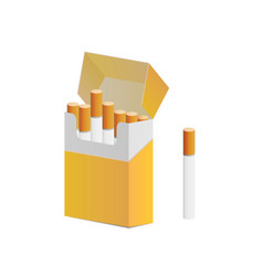 Pack cigarettes and one cigarette out pack vector