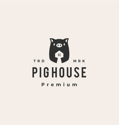 pig house hipster vintage logo icon vector image