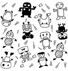 Robot happy of doodle art vector