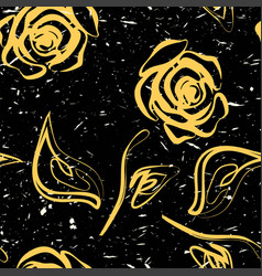 Roses yellow seamless pattern vector