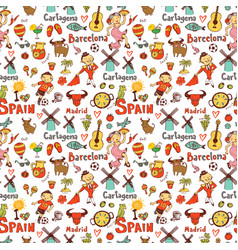 seamless background with symbols spain vector image