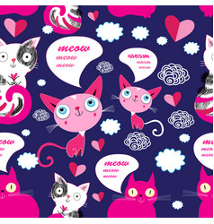 seamless cartoon funny pattern cats in love vector image
