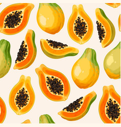 Seamless pattern with papaya whole and slice vector