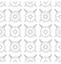Seamless pattern with viking shields and swords vector