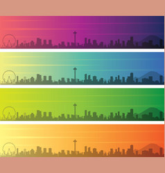 Seattle multiple color gradient skyline banner vector