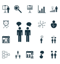 set 16 executive icons includes decision vector image