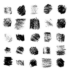 Set black grunge scratched square textures vector