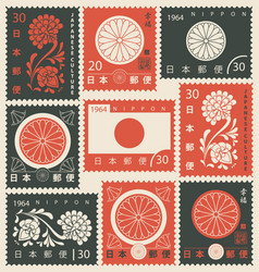 set japanese postage stamps with chrysanthemum vector image