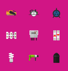 Set of 9 editable instruments flat icons includes vector