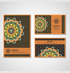 Set of cards with mandala vector