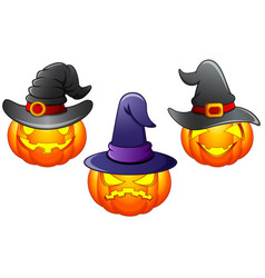 set of halloween pumpkins cartoon vector image