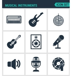Set of modern icons Musical instruments vector image