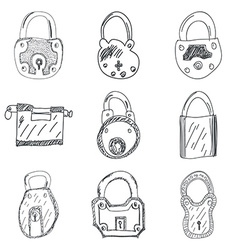 Set of nine hand drawn padlocks vector image