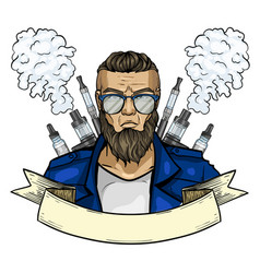 Sketch hipster man with vaporizer cigarette vector