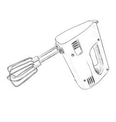 sketch of electric mixer vector image
