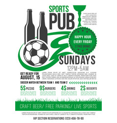 soccer sports bar football pub menu design vector image