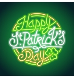 St Patricks Day Glowing Neon Sign vector