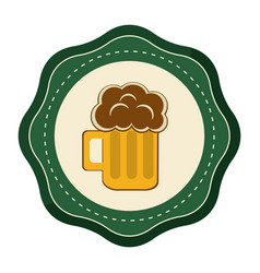 Sticker foam beer glass drink celebration vector