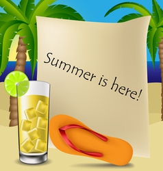Text frame with cocktail and flip flop vector image