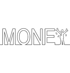 The word MONEY with a man standing in it vector image