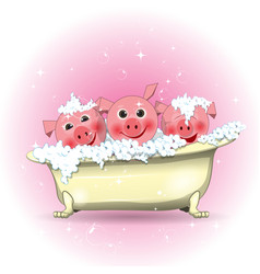 Three merry pigs in the bathroom vector