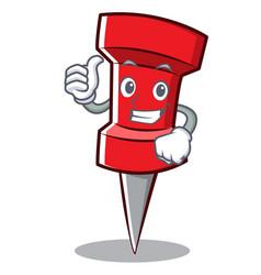 Thumbs up red pin character cartoon vector