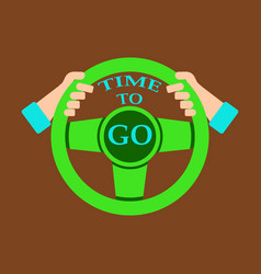 Time to travel concept happy family rides car vector