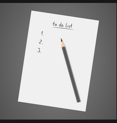 To do list white notebook with pencil diary vector