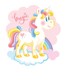 unicorn character standing on cloud with rainbow vector image