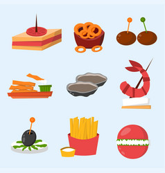 various meat fish cheese banquet snacks on banquet vector image