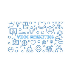 Video marketing content thin line vector
