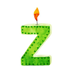 Watercolor happy birthday letter z candle vector