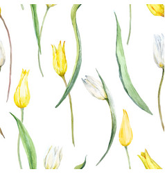 Watercolor tulip pattern vector