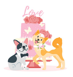 Wedding day with dog vector