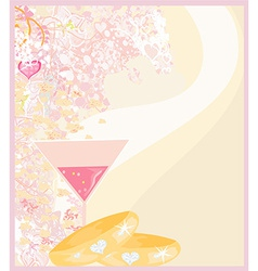 wedding Invitation card with rings vector image