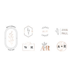 wedding monogram logos collection with hand drawn vector image