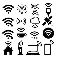 Wifi icon set on white background vector