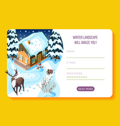 winter landscaping isometric landing page vector image