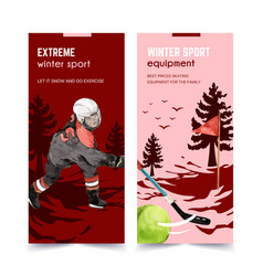 Winter sport flyer design with ball person vector