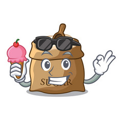 With ice cream bowl and scoop sugar on character vector