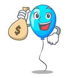 With money bag birthday cartoon on shape balloon vector