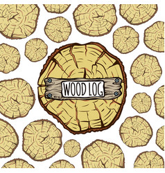 wood trunks background brown circle tree log vector image