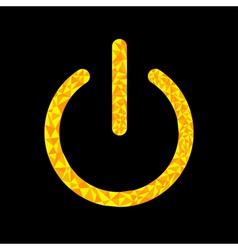 Yellow power button icon Black background Polygona vector