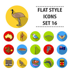 australia set icons in flat style big collection vector image vector image