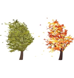 Autumn and summer grunge tree in the wind vector image
