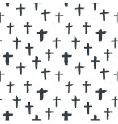 cross symbols seamless pattern grunge hand drawn vector image vector image