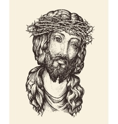 Portrait of Jesus Christ Hand drawn sketch vector image vector image